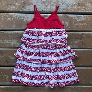 3/$30 - Children's Place Red & White Ruffe Canada Dress - Size 7/8